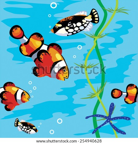 Seamless vector pattern decorative exotic fish, seaweed, starfish and bubbles on background of blue water. - stock vector