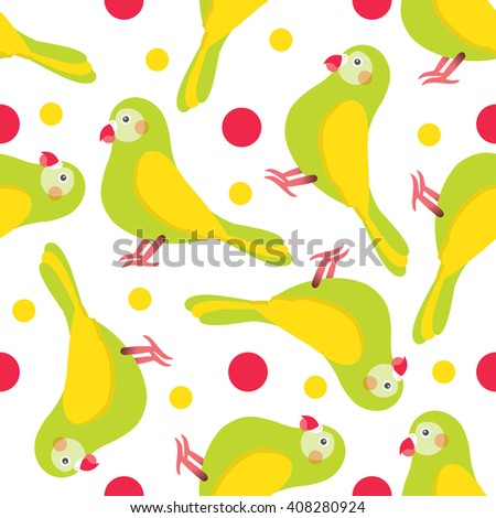Seamless vector pattern. Festive bright design, illustration of magic cartoon parrots, birds with rounds. Perfect for textile, backgrounds, texture, cotton, web. Green, yellow, pink, red - stock vector