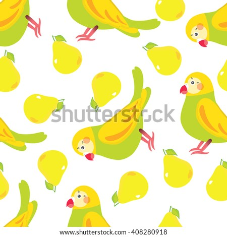 Seamless vector pattern. Festive childish design, illustration of magic cartoon parrots, birds with peak. Perfect for textile, backgrounds, texture, cotton, web. Green, yellow, pink, red - stock vector