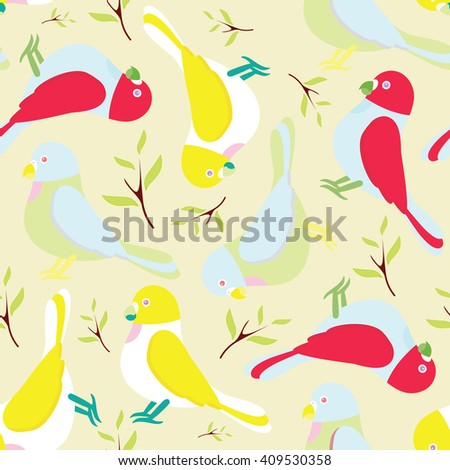 Seamless vector pattern. Festive childish design, illustration of magic cartoon parrots, birds with branch and leaves. Perfect for textile, backgrounds, texture, web. Blue, lilac, yellow, red, pink - stock vector