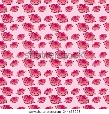 Seamless vector pattern, floral symmetrical background with roses over pink backdrop.