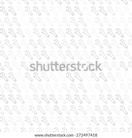 Seamless vector pattern. Gray and white texture with wrench outline icon pattern - stock vector