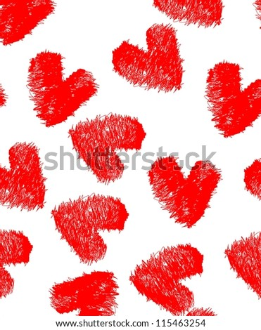 seamless vector pattern heart valentines day - stock vector