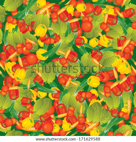 Seamless vector pattern illustration background for your kitchen with vegetables: pepper, tomato, dill, cabbage, onions, carrots on green - stock vector