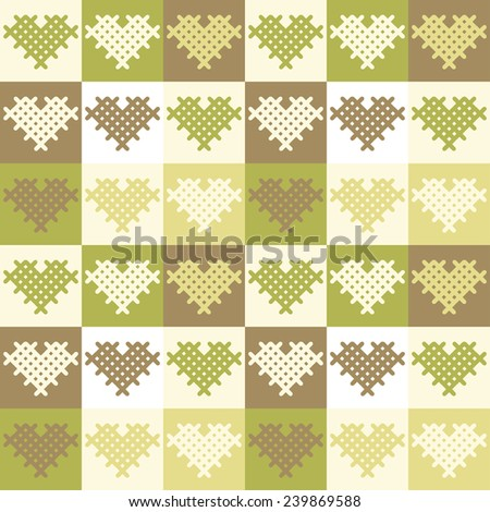 Seamless vector pattern in olive, mustard and green tones consisting of squares and hearts embroidered cross, staggered - stock vector