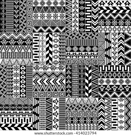 Seamless vector pattern in the ethnic style. Repeating tribal texture. Black and white ethnic ornaments. Great for background, textile, coloring book, cover, gift wrap, graphic elements, and more - stock vector