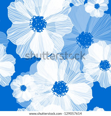 Seamless vector pattern in vintage style Romantic Flower Background - stock vector