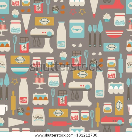 Seamless vector pattern. Kitchen/food background - stock vector