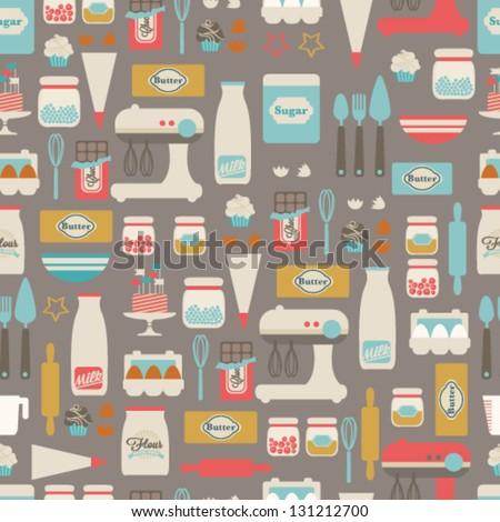 stock vector seamless vector pattern kitchen food background 131212700 - Каталог — Фотообои «Еда, фрукты, для кухни»