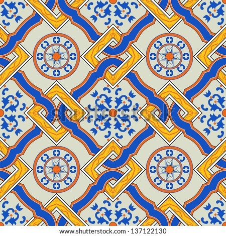 seamless vector pattern made from original sicilian tile - stock vector