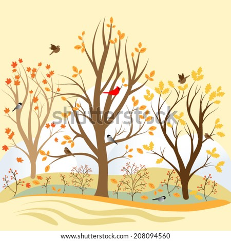 Seamless Vector Pattern of a Fall Tree Background Scene with Birds, Leaves and Trees - stock vector