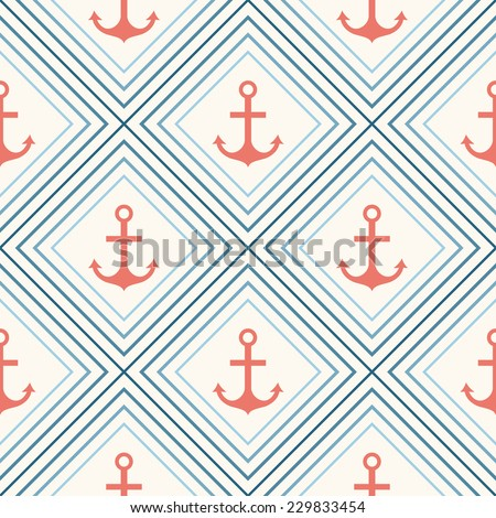 Seamless vector pattern of anchor shape and line. Endless texture for printing onto fabric, web page background and paper or invitation. Abstract retro nautical style. White, red and blue colors. - stock vector