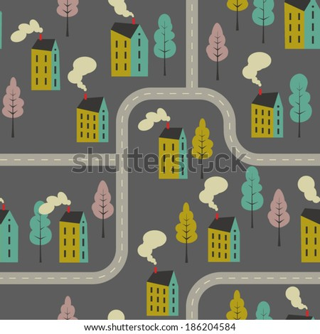 Seamless vector pattern of cartoon houses and roads. Kid's elements for scrap-booking. Childish background. Hand drawn vector illustration. - stock vector