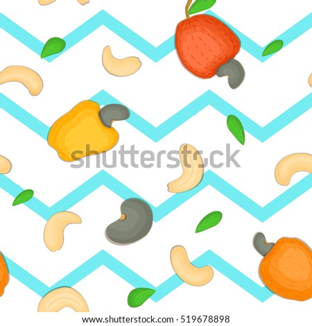 Seamless vector pattern of cashew nut. Blue Striped zig-zag background with delicious cashew nuts, leaves. Illustration can be used for printing on fabric textile in design packaging food