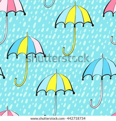 Seamless Vector Pattern of Colored Umbrellas and Rain Drops