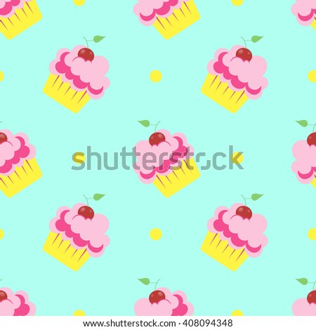 Seamless vector pattern of cupcakes with cherries. It can be used as print on fabric, paper, packaging, website design, wallpaper, cafe menu. - stock vector