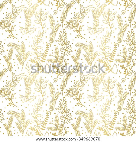 Seamless Vector Pattern of Faux Gold Foil Christmas Holiday Florals - stock vector