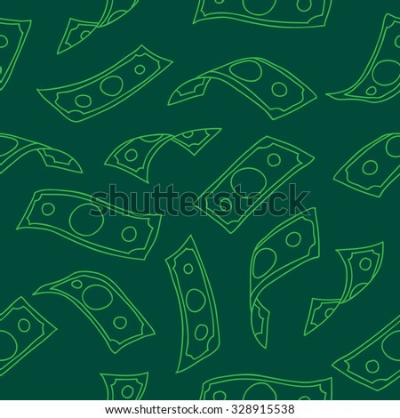 Seamless vector pattern of flying paper money on a dark green background, painted by hand. - stock vector
