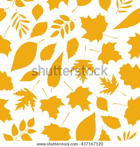 Seamless vector pattern of golden autumn leaves on a white background. Elements for autumn design. Golden autumn. Beautiful autumn background. - stock vector