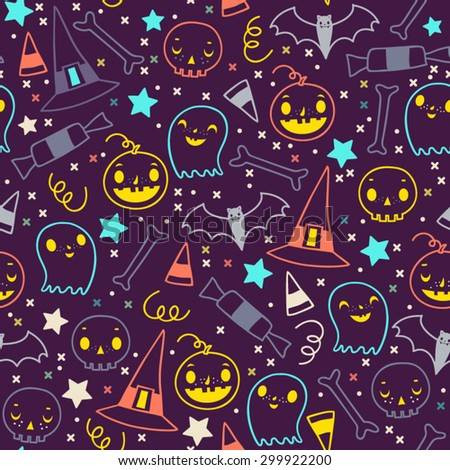 Seamless vector pattern of halloween elements. Cartoon skulls. Halloween elements for scrap-booking. Hand drawn vector illustration. Trick or treat. - stock vector