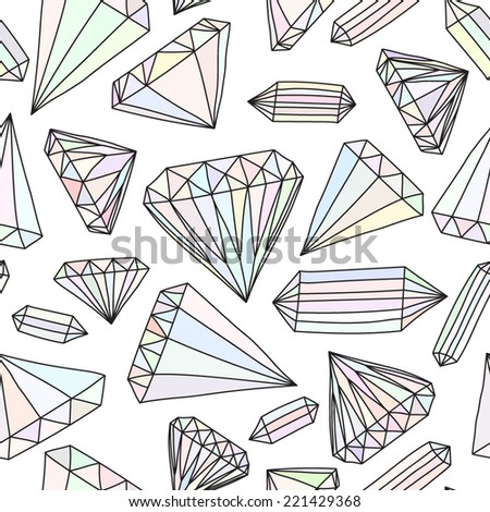 Seamless vector pattern of hand drawn colorful jewels   - stock vector