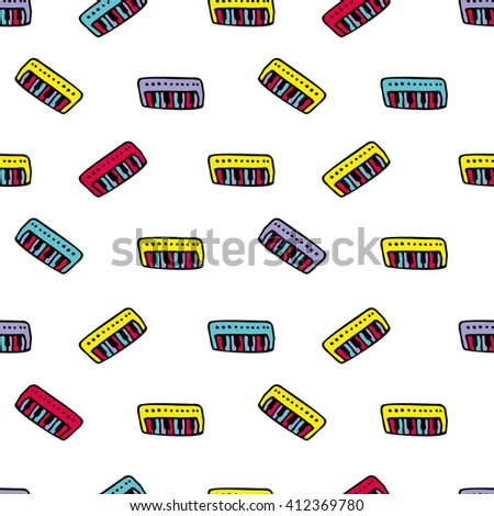 Seamless Vector Pattern of  Keyboards