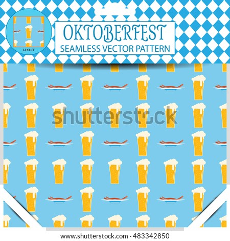 Seamless vector pattern of Oktoberfest with goblet of beer and plate with sausages on the blue background in the package.