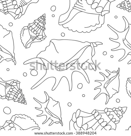 Seamless vector pattern of shells on a white background. - stock vector