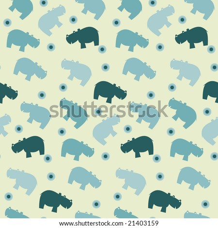 seamless vector pattern of simple naive hippo - stock vector