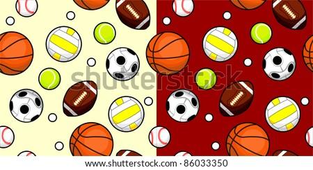 Seamless Vector Pattern of Sport Balls - stock vector