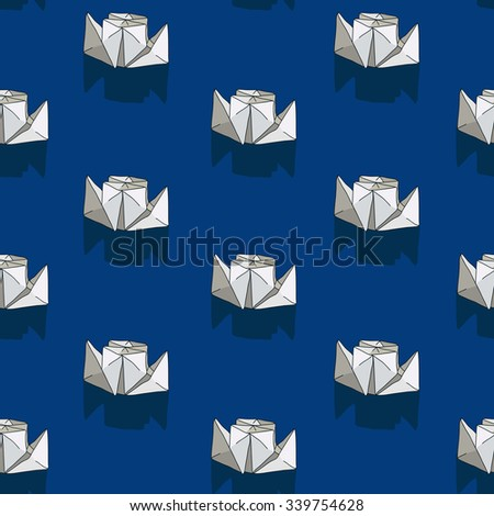 Seamless vector pattern of the double-decker white paper boat on a dark blue background, hand-drawn.