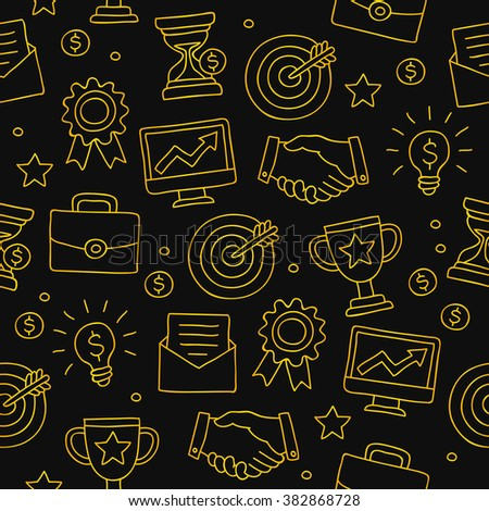 Seamless vector pattern of the gold career icons on a black background. - stock vector