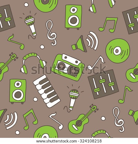 Seamless vector pattern of the musical icons on a gray background, hand-drawn.