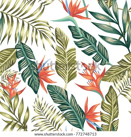 Seamless Vector Pattern Of Tropical Palm Leaves And Flowers Fashion Nature Floral Beach Wallpaper On