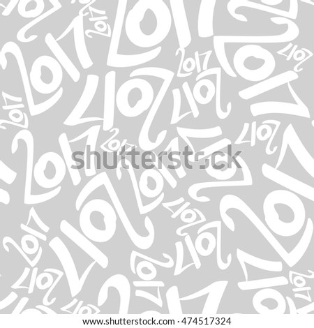 Seamless vector pattern of white 2017 on gray background