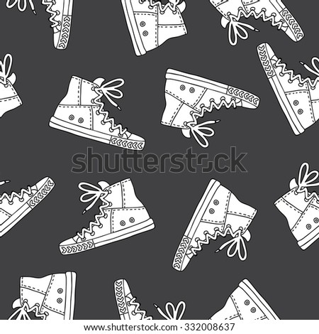 Seamless vector pattern of white sneakers on a black background, hand-drawn.