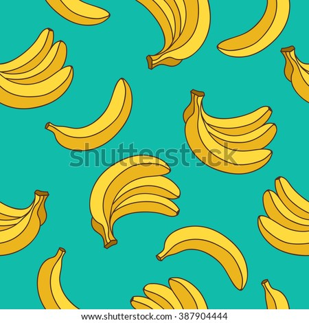 Seamless vector pattern of yellow bananas on a blue background. Yellow fruit.
