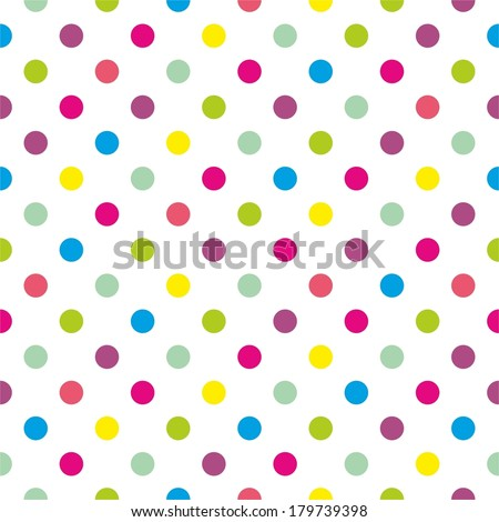 Seamless vector pattern or texture with colorful pink, green, yellow and blue polka dots on white background for kids background, blog, website design, scrapbooks or baby shower invitations - stock vector