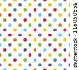 Seamless vector pattern or texture with colorful polka dots on white background for kids background, blog, web design, scrapbooks, party or baby shower invitations and wedding cards. - stock