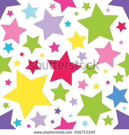 Seamless vector pattern. Simple Abstract design. Little cute geometric stars in bright festive children's colors - stock vector