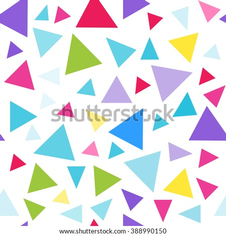 Seamless vector pattern. Simple Abstract design. triangles in bright festive children?s colors. Blue, pink, yellow, purple, green - stock vector