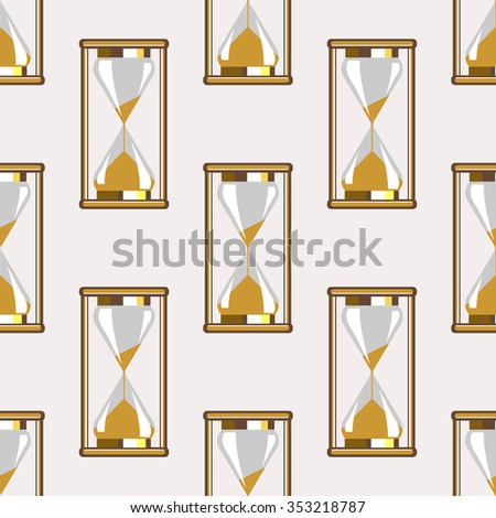 Seamless vector pattern. Symmetrical background with closeup gold sandglass on the grey backdrop