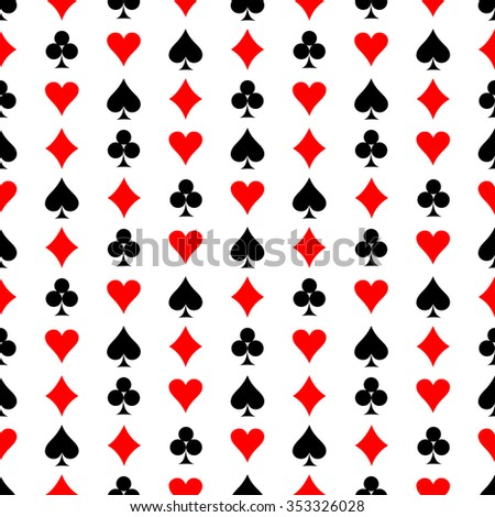 Seamless vector pattern. Symmetrical background with red and black icons of game cards, on the white backdrop