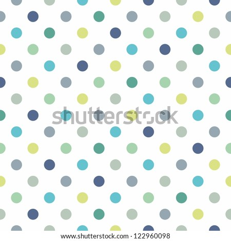 Seamless vector pattern, texture or background with cool mint, blue and yellow green polka dots on white background for web design, desktop wallpaper, winter blog, website or invitation card. - stock vector
