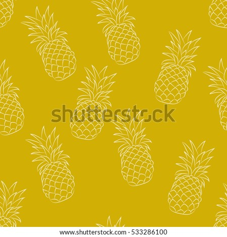 Seamless vector pattern. Two colors pineapple pattern on the bright yellow background.
