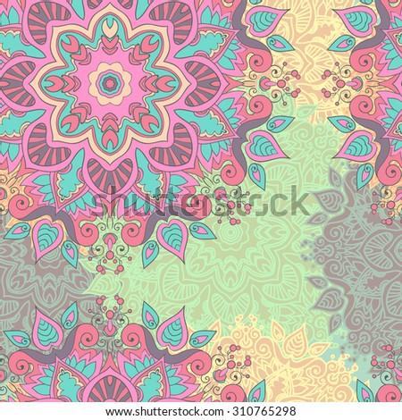 Seamless vector pattern Vintage decorative elements. Hand drawn background. Islam, Arabic, Indian mandala. pastel light color - stock vector