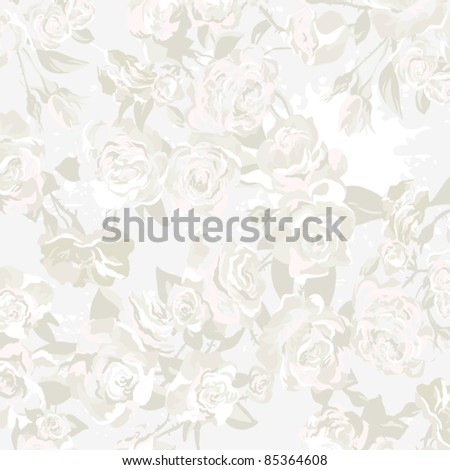 Seamless vector pattern, Wallpaper, Vector Background with roses in vintage style - stock vector