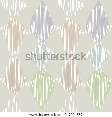 Seamless vector pattern. Winding thin crisp colorful strokes are staggered. Neutral background, white elements in pastel shades.