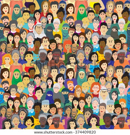 Seamless vector pattern with a crowd of people of different ages, races and nationalities. Men, women, grandmothers, grandfathers, boys, girls in colorful clothes - stock vector