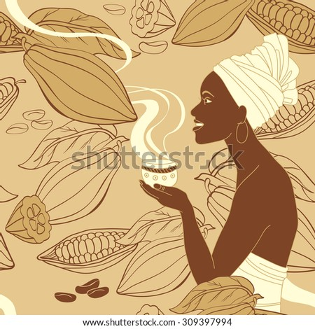 Seamless vector pattern with african woman holding cup of hot cocoa - stock vector